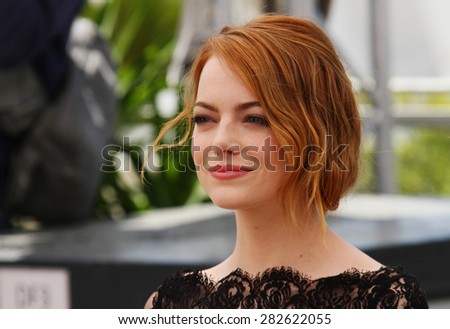 Emma Stone attends the 'Irrational Man' photocall during the 68th annual Cannes Film Festival on May 15, 2015 in Cannes, France. - stock photo