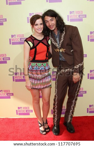 Emma Watson and Ezra Miller at the 2012 Video Music Awards Arrivals, Staples Center, Los Angeles, CA 09-06-12 - stock photo