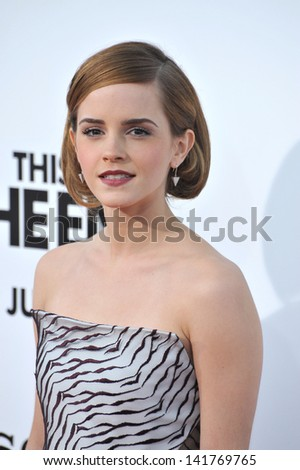 "Emma Watson at the world premiere of her movie ""This Is The End"" at the Regency Village Theatre, Westwood. June 3, 2013  Los Angeles, CA - stock photo"