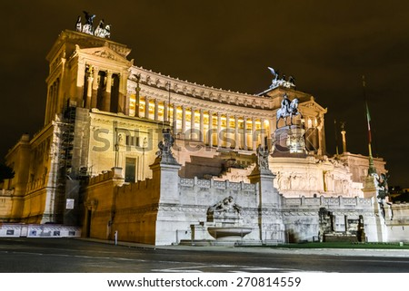 Emmanuel II monument and The Altare della Patria in a summer night in Rome, Italy - stock photo