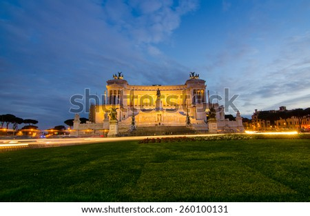 Emmanuel II Monument in Rome before night time will become. - stock photo
