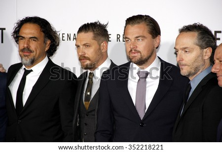 Emmanuel Lubezki, Alejandro Gonzalez Inarritu, Leonardo DiCaprio and Tom Hardy at the Los Angeles premiere of 'The Revenant' held at the TCL Chinese Theatre in Hollywood, USA on December 16, 2015. - stock photo