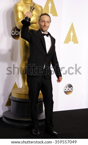 Emmanuel Lubezki at the 87th Annual Academy Awards - Press Room held at the Loews Hollywood Hotel in Los Angeles, USA February 22, 2015. - stock photo