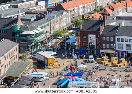 EMMELOORD, THE NETHERLANDS - SEP 10: Aerial view central plaza with stands of a local agricultural potato festival on September 10, 2016 in Emmeloord, capitial city of Noordoostpolder, the Netherlands