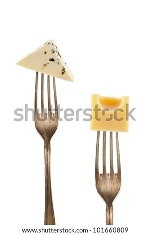 Emmentaler and blue cheese pieces on fork isolated on white background. Culinary cheese background. - stock photo