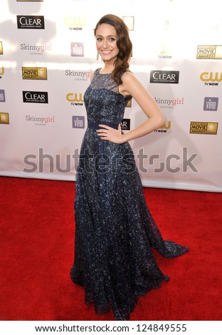 Emmy Rossum at the 18th Annual Critics' Choice Movie Awards at Barker Hanger, Santa Monica Airport. January 10, 2013  Santa Monica, CA Picture: Paul Smith - stock photo