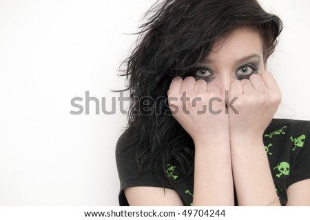 Emo Beautiful Brunette Girl crying - stock photo