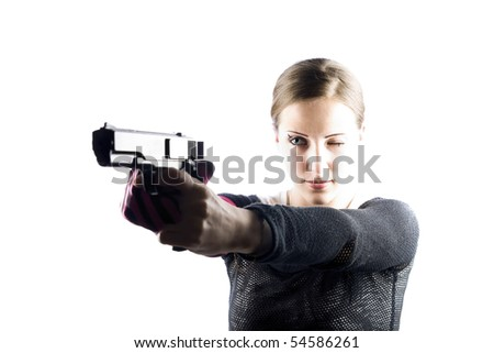 EMO girl and gun - stock photo
