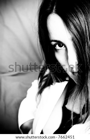 Emo girl looking at you - stock photo