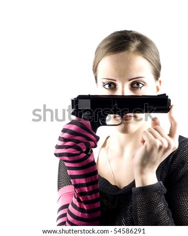 EMO girl with gun - stock photo