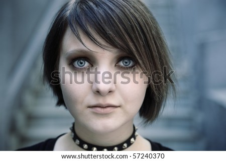 emo or goth - stock photo