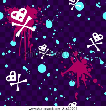 Emo seamless pattern with paint-splatters (JPG); a vector version is also available