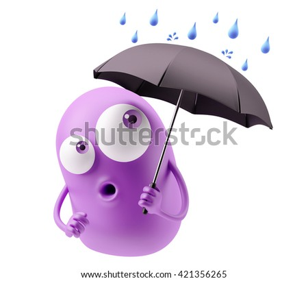 Emoticon Character under an umbrella in a rainy day. 3d Rendering.