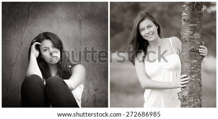 Emotion concept, two black and white portraits of the same model, left photo: sad and depressed, right photo: positive and happy - stock photo