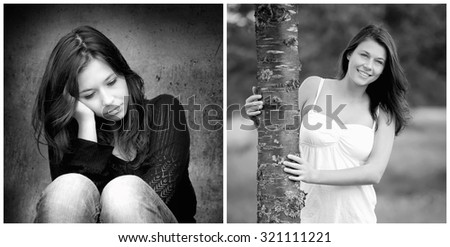 Emotion concept, two black and white portraits of the same model, left photo: sad and depressed, right photo: positive and happy, monochrome photos - stock photo