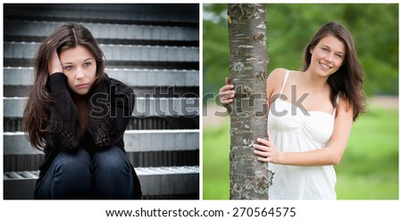 Emotion concept, two portraits of the same model, left photo: sad and depressed, right photo: positive and happy - stock photo