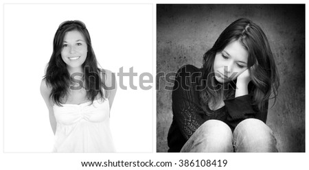 Emotion concept, two portraits of the same young woman, right photo: sad and depressed, left photo: positive and happy, black and white images - stock photo