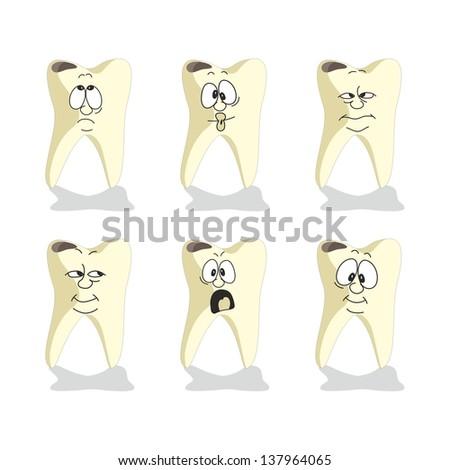 Emotion tooth cartoon set 008 - stock photo