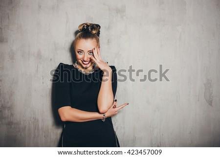 Emotion woman portrait. Incommodity. Smile. Emotion concept - stock photo