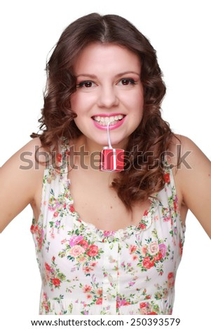 Emotion young woman holding small red box on white background on Beauty and Fashion theme - stock photo