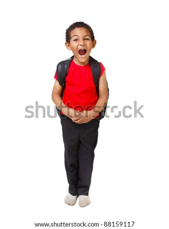 Emotional african american kid shouting - stock photo