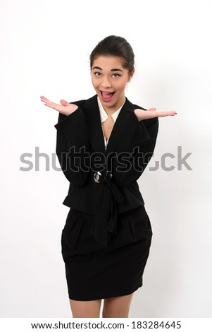 Emotional business woman with wide open eyes and hands on a white background
