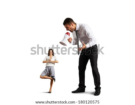 emotional businessman shouting at small calm woman. isolated on white background