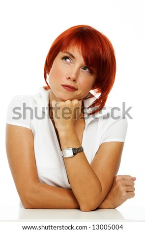 emotional caucasian woman over white - stock photo