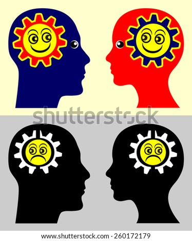 Emotional Contagion. Psychological concept sign showing that people take on the moods and attitudes of those around them. - stock photo