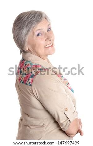 emotional elder woman on a white background - stock photo