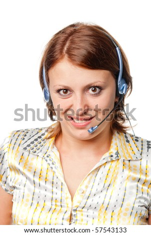 Emotional girl with ear-phones and a microphone - stock photo