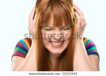 emotional girl with eyes closed - stock photo