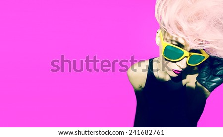 Emotional glamorous blonde disco punk fashion style