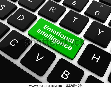 Emotional Intelligence Concept. White Button on Background in Flat Design Style. - stock photo