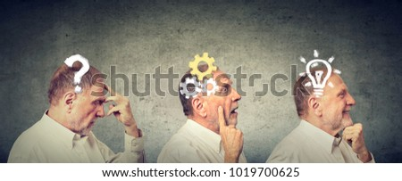 Emotional intelligence. Side view of an elderly man thoughtful, thinking, finding solution with gear mechanism, question, lightbulb symbols. Human face expression