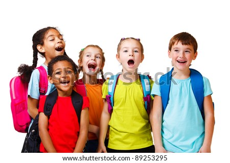 Emotional kids crowd, over white - stock photo