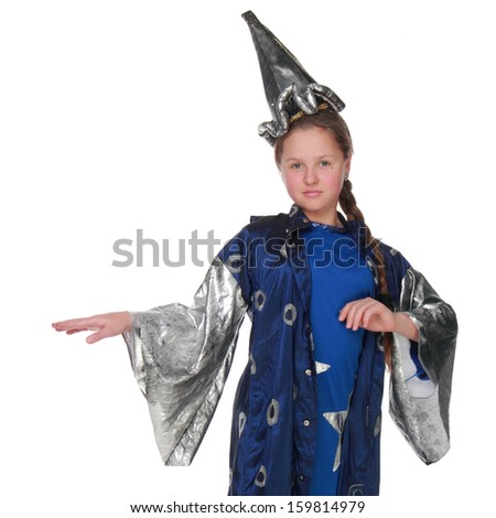 Emotional little girl in a fun fancy dress on white background