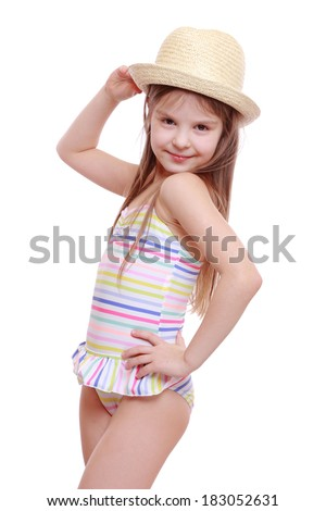 Emotional Little Girl Modern Swimsuit Straw Stock Photo ...