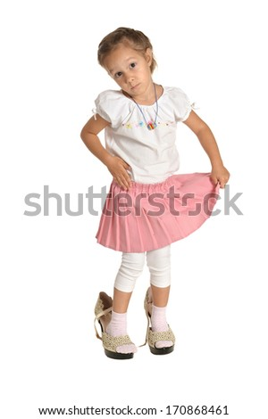 Emotional little girl on white background