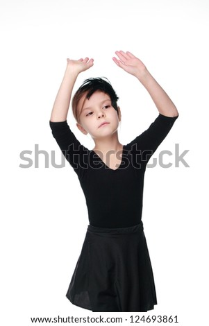 Emotional little girl wearing black lovely tutu
