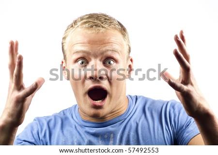 Emotional man - stock photo
