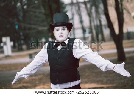 Emotional Mime on the street - stock photo