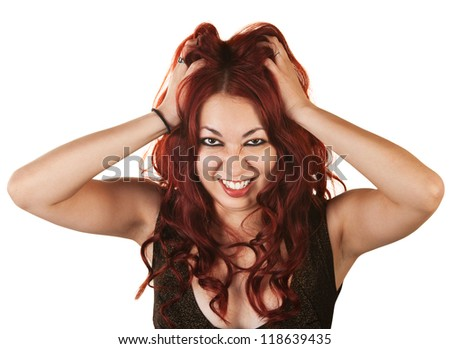 Emotional Native American woman grabbing her hair
