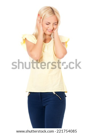 Emotional portrait - stock photo