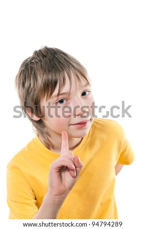 Emotional portrait of a boy of 10-12 years. - stock photo