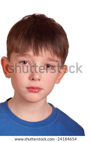 emotional portrait of a crying boy. isolated on white - stock photo