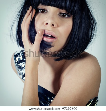 Emotional portrait of a frightened man - stock photo