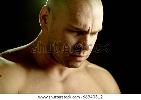 Emotional portrait of a prayer - stock photo