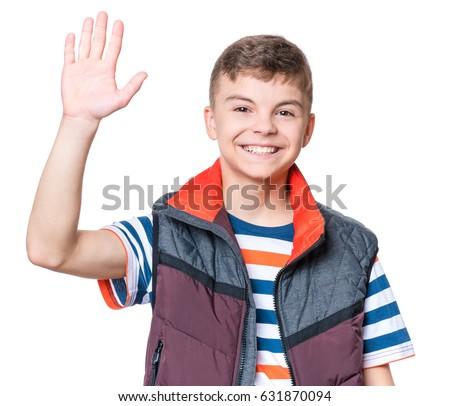 Emotional Portrait Caucasian Smiling Teen Boy Stock Photo ...