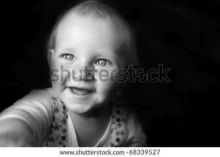 Emotional portrait of girl, black and white - stock photo